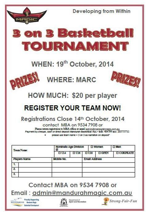 3 on 3 basketball tournament registration form template 3 on 3 basketball tournament mandurah basketball