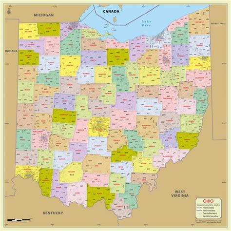 buy ohio zip code map with counties 48 w x 48 h