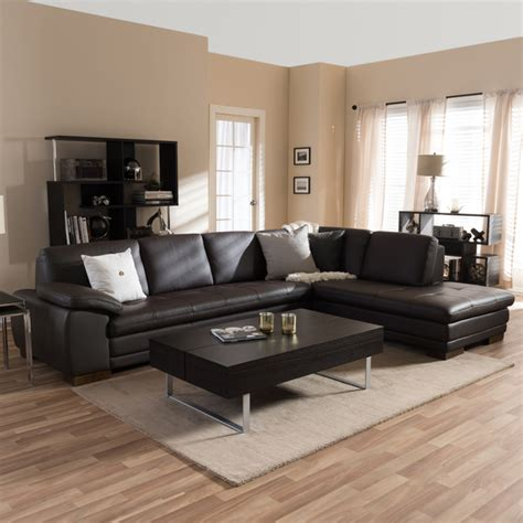 baxton studio diana brown leather sectional sofa set