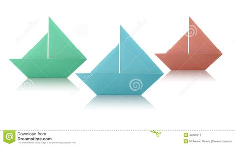 Origami Paper White - origami paper sailing boats stock photo image 49826911