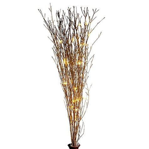 led 39 inch lighted brown branches bed bath beyond 39 inch battery operated gold glitter bamboo branches
