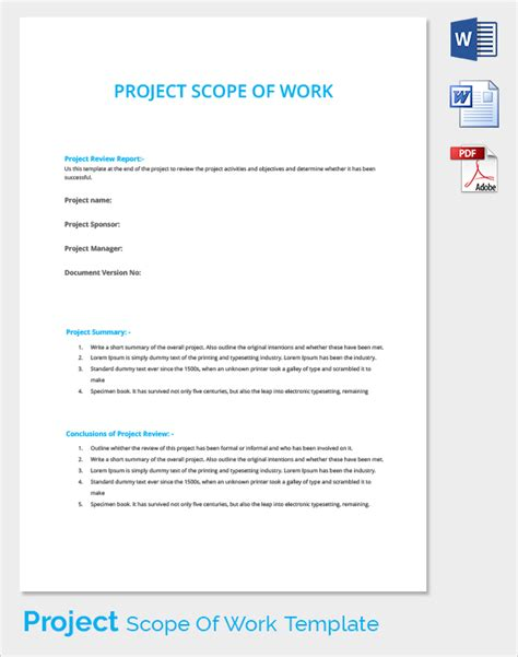 it project scope of work template scope of work 22 dowload free documents in pdf word excel