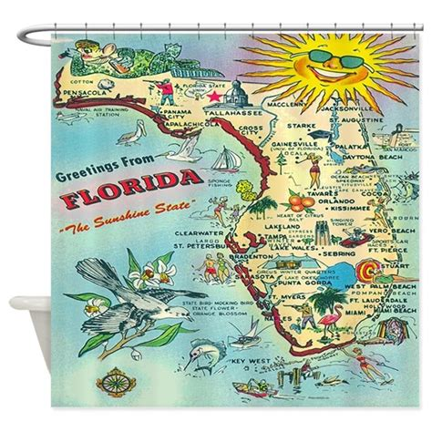 vintage map shower curtain vintage florida greetings map shower curtain by rebeccakorpita