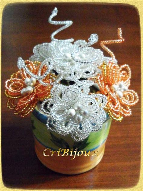 fiori con perline ciotola con fiori di perline argento e arancio cribijoux