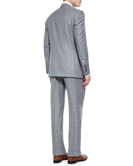 light grey windowpane suit canali windowpane two wool suit light gray