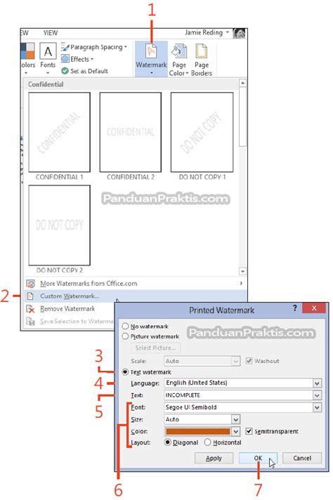 membuat watermark word 2013 cara memasukkan dan membuat watermark di word 2013