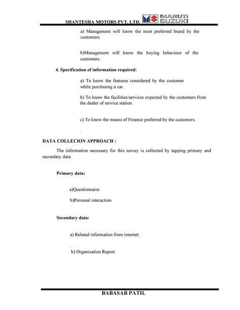 Mba Project Report Maruti Suzuki Pdf by Buying Behavior Of Customers Maruthi Suzuki Mba