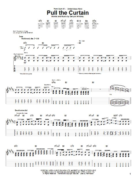 pull the curtain lyrics pull the curtain by sum 41 guitar tab guitar instructor