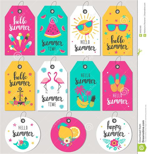 free printable gift tags summer set hello summer gift tags and cards stock vector