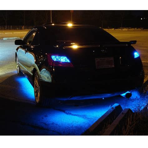 Blue Underbody Led Lighting Kit 4 Piece Flexible Strips Car Led Light
