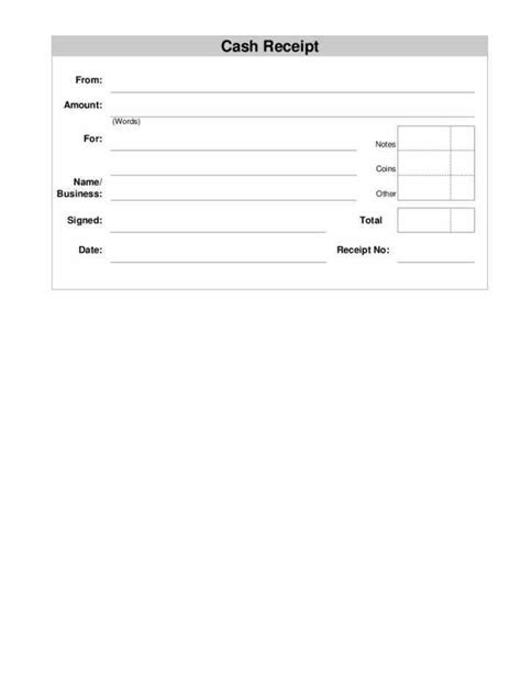 printable blank receipt template cash receipts blank