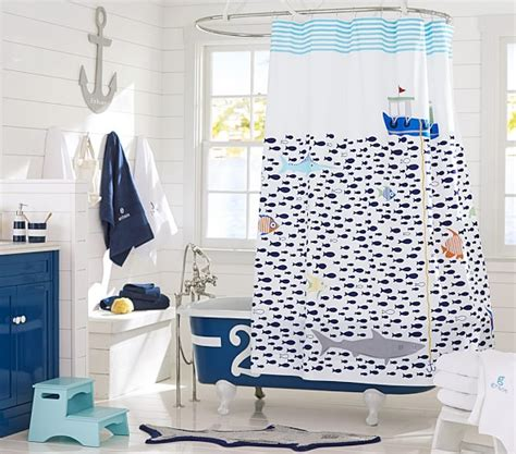 kid bathroom shower curtains under the sea shower curtain pottery barn kids