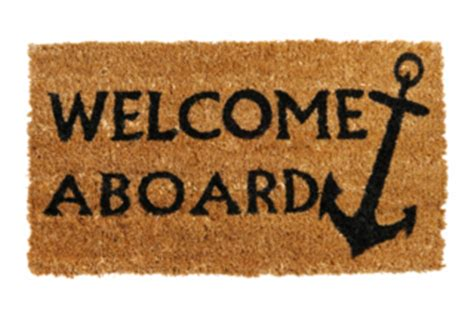 Welcome Aboard Mat by Inductions Set The Stage For Success Pay Plus Benefits