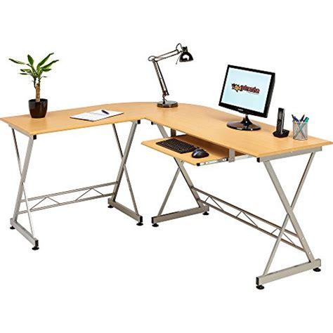 Beech Corner Computer Desk Corner Computer Desk Writing Table With Keyboard Shelf For Home Office In Beech Effect Piranha