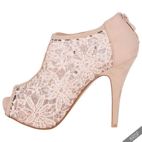 Bridal Shoe Boots by Womens Diamante Lace Platform High Heel Peep Toe Ankle
