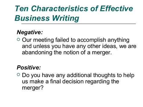 Mba School Characteristics by Ten Characteristics Of Effective Business Writing