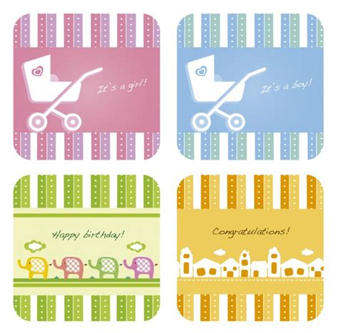 Free Baby Gift Cards - gift cards collection for baby shower vector free download