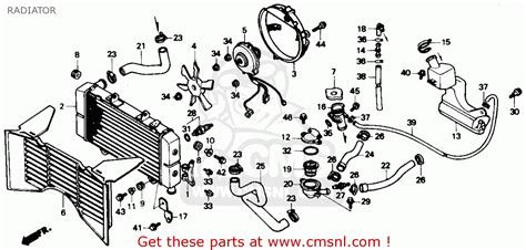 hurricane oil l parts honda cbr600f hurricane 1990 l usa radiator parts list