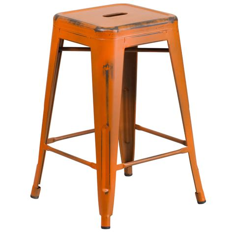 Stackable Bar Stools Sale by Distressed Orange Stackable Metal Counter Height Stool