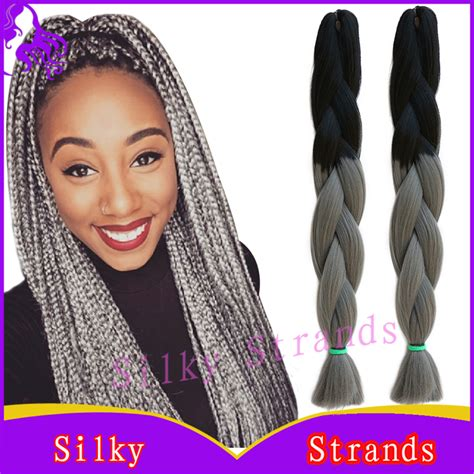 kanekolan hair black white grey ombre kanekalon braiding hair colors 24 10pcs100g