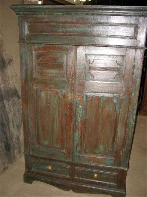 antique india furniture armoire rustic patina carved