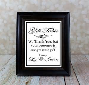 wedding gift sign reception table sign thank you sign