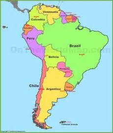map of south america and their capitals map of south america with countries and capitals