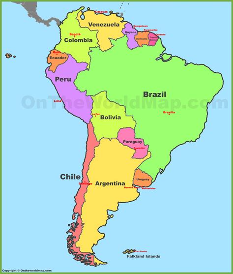 america map showing countries map of south america with countries and capitals