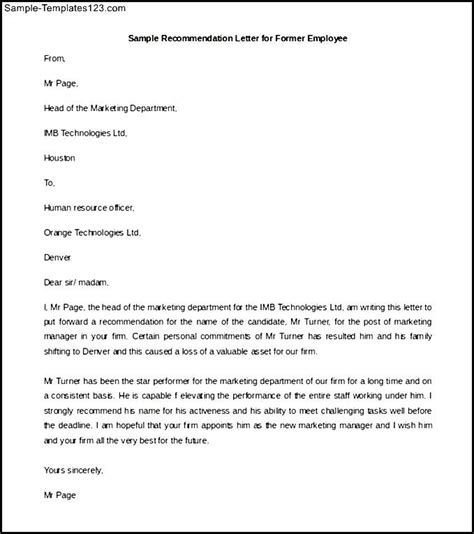 Reference Letter Exles For Employee Recommendation Letter For Former Employee Template Exle Sle Templates