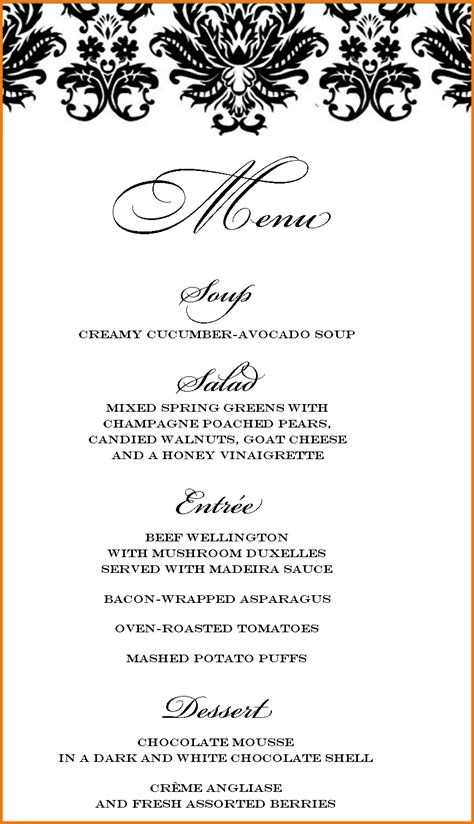 dinner party menu template authorization letter pdf