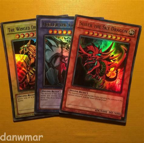 yu gi  ultra rare original egyptian god cards slifer