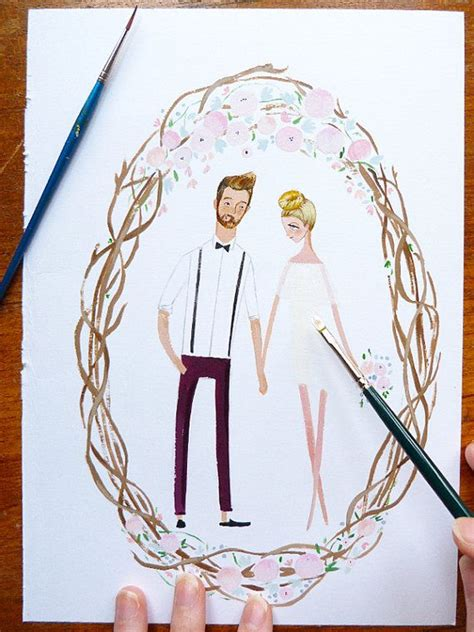 custom portraits fog custom wedding portrait illustration