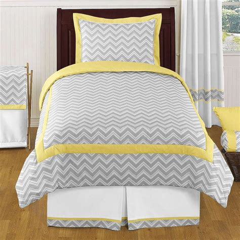 yellow twin bedding zig zag yellow and gray 4 piece twin bedding