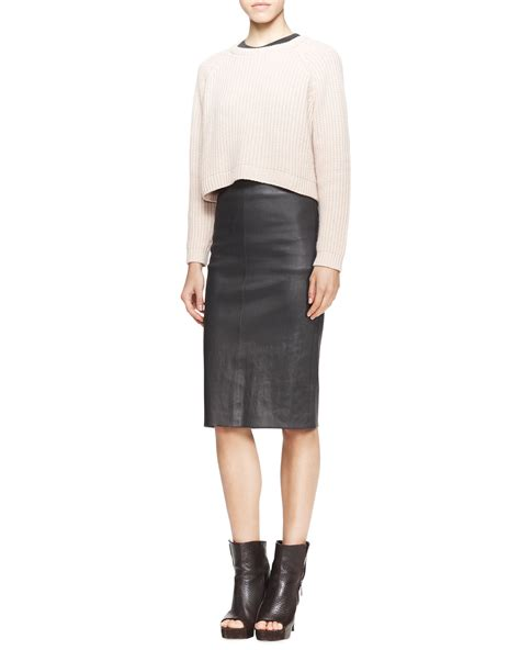 brunello cucinelli high waist leather pencil skirt in