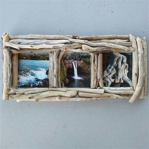 Decorative Driftwood For Homes 5x5 Frame 3 Photo Picture Frame Driftwood Frame Driftwood Decor Decorative Wood Unique Frame
