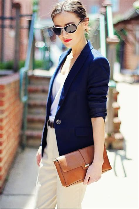Navy Fashion classic style clothing for s fashion wearing a navy blue classic blazer beige