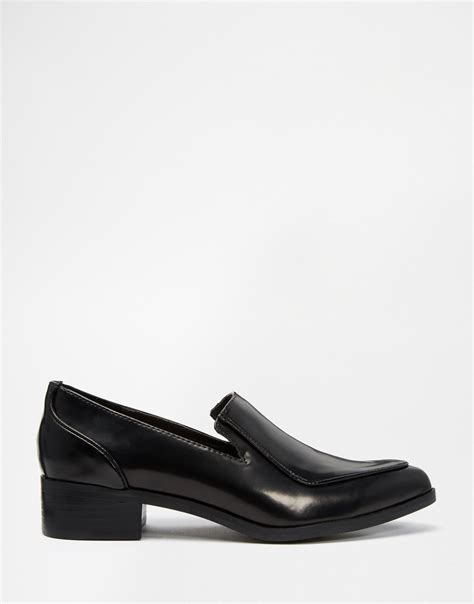 black pointed flat shoes lyst asos pointed flat shoes in black
