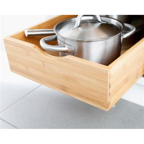 kitchen cabinet roll out drawers bamboo roll out cabinet drawers the container store
