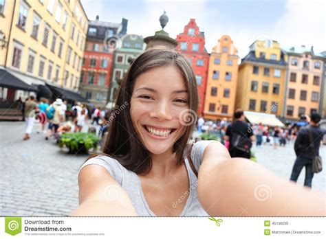 candid all italiana asian taking self portrait selfie stockholm stock