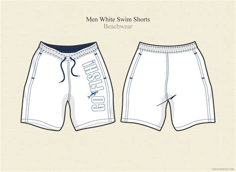 men white swim shorts beachwear illustrations on