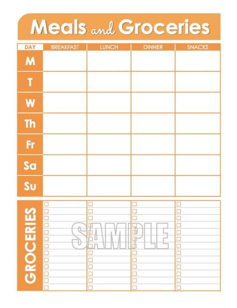 editable menu planner template meal planner and groceries list printable menu planner