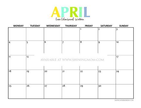 Calendar Printable 2016 April Free Printable April 2016 Calendars