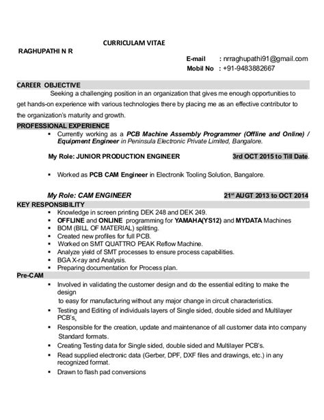 Fabrication Engineer Sle Resume by Career Objective For Production Engineer 28 Images Manufacturing Engineer Resume Objective