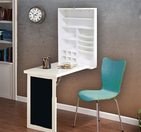 fold desk table with wall cabinet and chalkboard