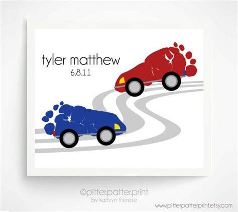 Do It Yourself Home Decor Projects Transportation Wall Art Baby Child Footprint Cars