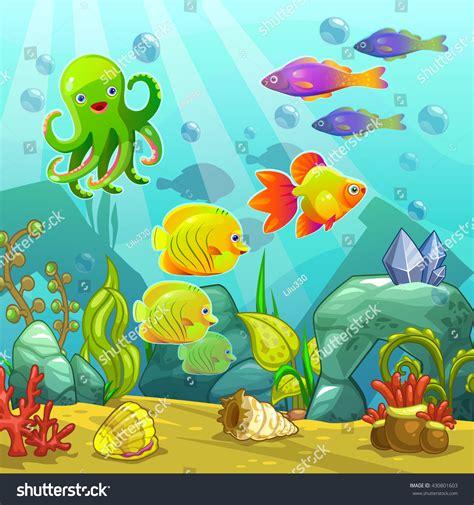 aquarium design eps royalty free cartoon underwater landscape vector