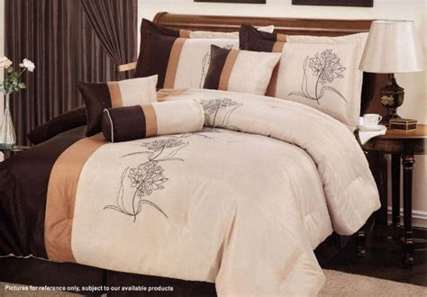 orange and brown comforter sets 7 pc embroidery floral comforter set queen brown orange ebay