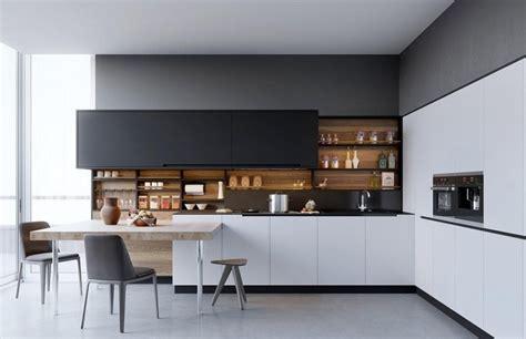 black white interior design am 233 nagement cuisine blanche et bois 35 id 233 es cool