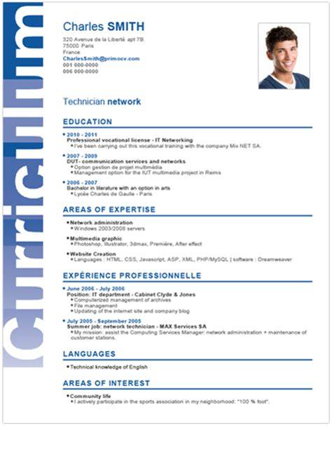 Plantilla De Curriculum Vitae Estudiante Modelo De Curr 237 Culo Para Principiantes
