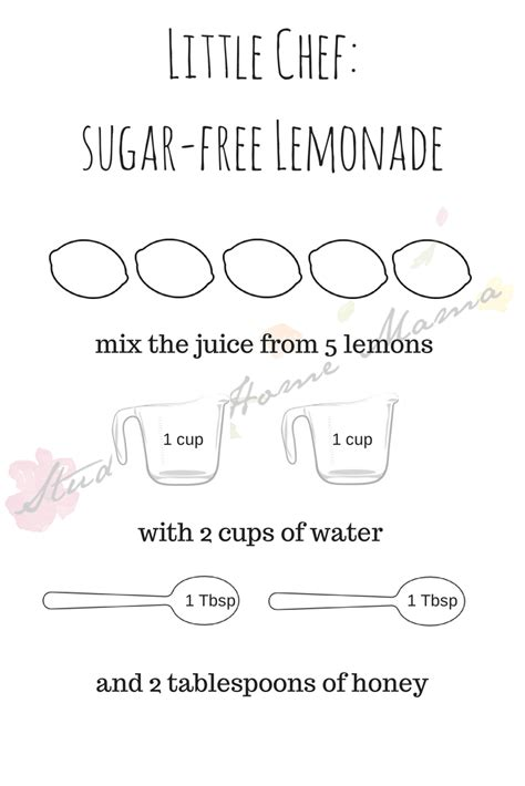 printable lemonade recipes little chef sugar free lemonade printable at study at home